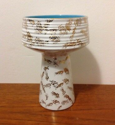 Vintage Mid Century Vase White Gold With Blue Interior Old Foley • 10£