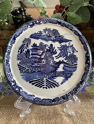 Antique Staffordshire Blue Willow Teapot Stand Trivet. • 38£