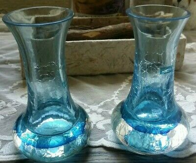 2x Blue Caithness Glass Vase Handcrafted In Scotland  • 14.99£