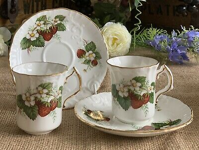 Hammersley Strawberry Ripe Pair Demi-Tasse Coffee Cups And Saucers PERFECT! • 24.99£
