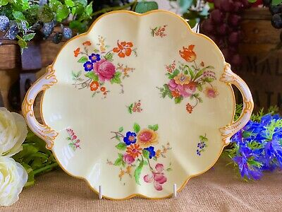George Jones Crescent China Hand-Painted Yellow Floral Cake / Biscuit Plate • 28.99£
