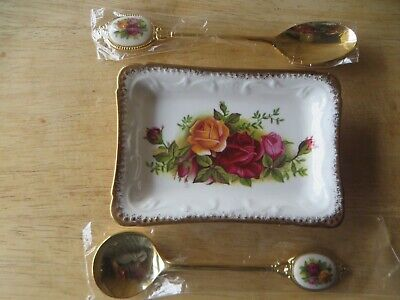 Royal Albert Old Country Roses Small Dish,jam Spoon & Teaspoon,nice Condition • 22£