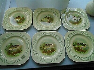 Set Of 6 1930s Vintage Fish Plates From English Maker Woods Ivory Ware. • 25£
