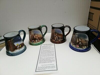 Great Yarmouh Pottery Set Of 4 Tankards Of   St Margrets Church    • 15.75£