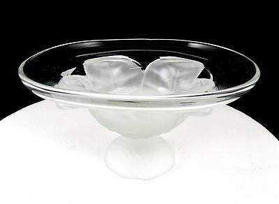 VIKING GLASS CO FROSTED CABBAGE LEAF BASE 3 1/4  COMPOTE 1950's • 20.90£