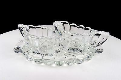 Heisey Signed Crystolite Clear 3 Pc Individual 2  Cream Sugar & Tray Set 1937-57 • 16.10£