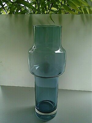 Large Riihimaki Smokey Blue Glass Vase Pattern No.1481 • 40£
