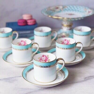 Vintage Crown Staffordshire Adelaide Coffee Can 6 Duo Set, Turquoise And Roses • 90£