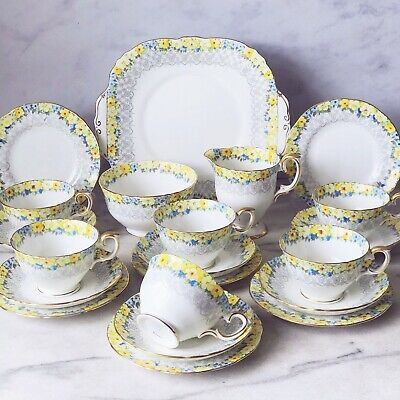 Vintage Crown Staffordshire Yellow Floral Tea Set Items *sold Individually* • 18.95£