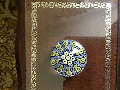 Lovely Millefiore Paperweight, Vgc, 4  Diameter, Blue, Yellow And White. • 2.10£