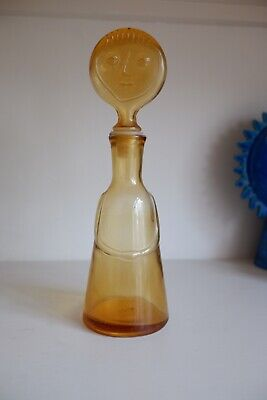 Erik Hoglund Style  People  Art Glass Decanter W Face Stopper  Neiman Marcus • 10.50£