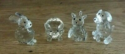 Crystal Clear Collectables Glass Animal Ornaments Pig Rabbit Cat And Dog Bundle • 12.99£