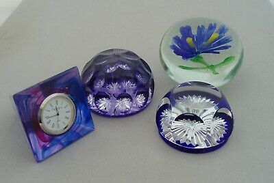 Collection Vintage Paperweights Baccarat Webb Corbett Lampwork Caithness Clock • 39.99£