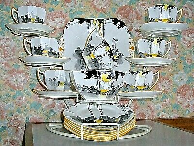 21 Piece Shelley  Sunset And Tall Trees  Pattern Tea Set In Superb Condition • 700£