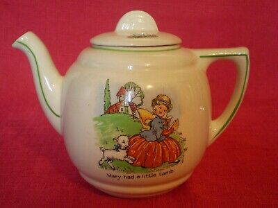VINTAGE 1950's NURSERY WARE CHILDS TEAPOT, MARY HAD A LITTLE LAMB • 2.99£