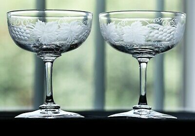Beautiful Pair Of Edwardian C1900 Champagne Glasses ~ Engraved Grape & Vine • 38.99£