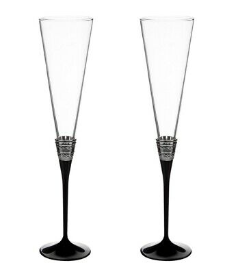 Vera Wang With Love Noir Toasting Flute Pair Champagne Glasses Silver & Black • 36.50£