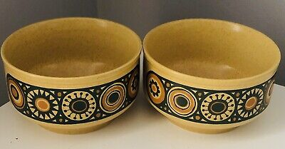 2 X Soup / Cereal Bowls - 1970's Retro Kiln Craft Bacchus -Staffordshire Pottery • 12£