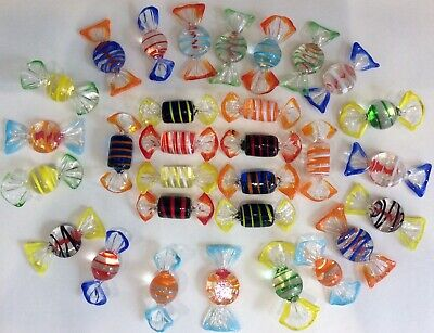 30 Assorted Murano Glass Sweets~various Shapes~designs~colours~excellent Cond • 14.99£