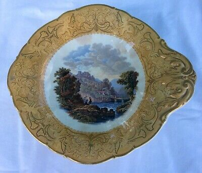 Prattware Dessert Service Plate - The Two Anglers -  1860 -80 • 12£