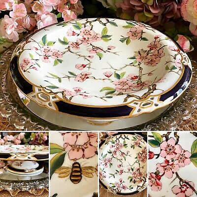 Antique Coalport Cake Stand Comport Pink Cherry Blossom & Bee Hand-painted C1891 • 145£