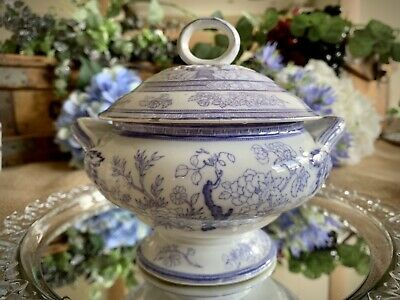 Staffordshire Sauce / Small Soup Tureen Blue And White Silicon China? • 35£