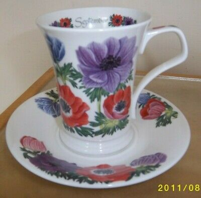 Dunoon Flower Of The Month Mug & Saucer - September Anemone • 12.95£