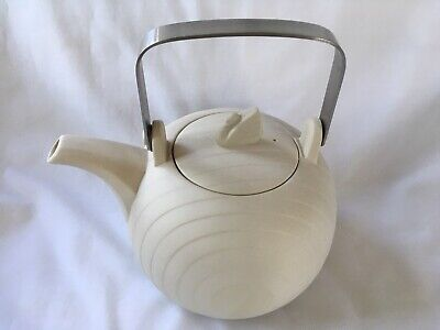 Concept Pottery Hornsea England 4 Cup TEAPOT Swan Lake W/ SS Metal Swing Handle • 57.24£