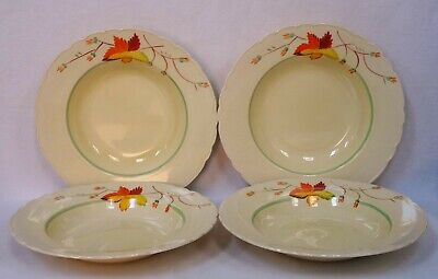 Set Of 4 A J WILKINSON Honeyglaze Hand Painted SOUP PLATES, 1947+ • 9.99£