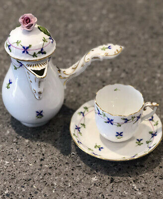 Herend Hungary Porcelain Coffee Chocolate Pot Hand Painted Blue Garland Design • 198£