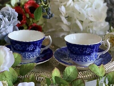 Antique Flow Blue Staffordshire Bone China Teacups & Saucers PAIR! • 24.99£