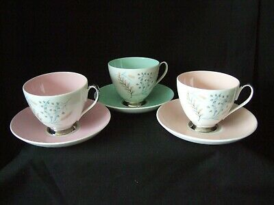 QUEEN ANNE CUP AND SAUCER  GLADE   FROM THE HARLEQUIN COLLECTION X 3 • 11.99£