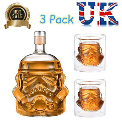 3PCS Star Wars Stormtrooper Glass Decanter Drinks For Whisky Sherry Liquor Set • 15.69£