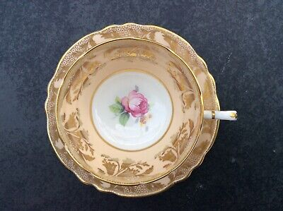Vintage Paragon Cup & Saucer Cream/Peach With Pink Rose And Gold A391/5 • 29.99£