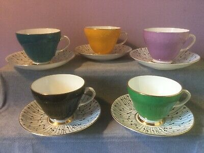 5 X ROYAL GRAFTON Fine Bone China HARLEQUIN CUPS & SAUCERS PAMPAS GRASS 1950s • 10.97£