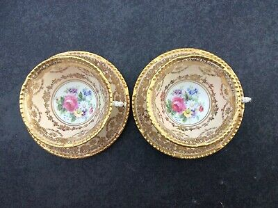 Pair Of Paragon Z664 Small Cabinet Tea Cups And Saucers Peach/Cream Gold • 49£