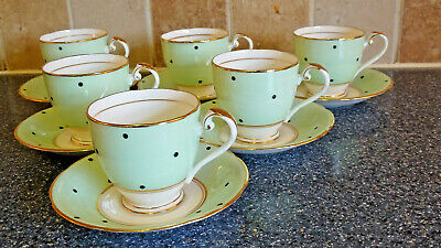 Royal Grafton Green Polka Dot Coffee Cups & Saucers X6  Teaset Dinner Service • 12.50£