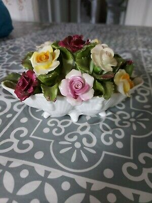 Aynsley Roses In Bowl, Hand Modelled Hand Painted Fine Bone China • 3£