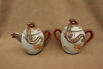 X 2 Vintage Dragon Decorated Teapot And 2 Handled Pot • 28£