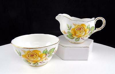MELBA ENGLAND #MEL14 YELLOW ROSE & SCALLOPED GOLD RIM 2 3/8  CREAM & SUGAR 1950s • 18.98£