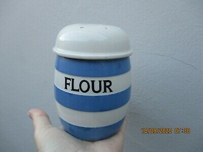 A Vintage T G Green Cornishware FLOUR Shaker With Lid-Green Shield Mark. • 24.99£