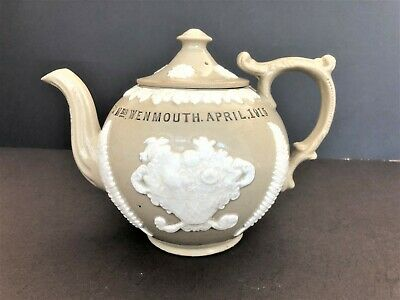World War One Sprigged Stoneware Teapot With Touching Inscription, 1915 • 55£