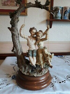 Capodimonte Young Couple On A Swing Maker's Mark & Signed On Back Of Sculpture • 60£