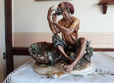 Capodimonte Old Fisherman With Basket Of Fish. In Very Good Condition For Age • 60£