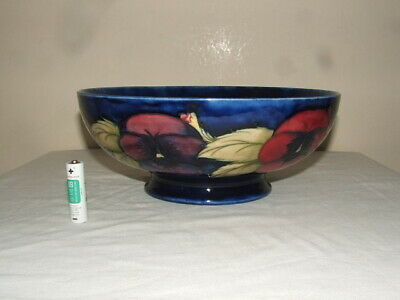 Moorcroft Art Deco Pansies  Footed Fruit Statement Bowl Rare & Stunning • 32£
