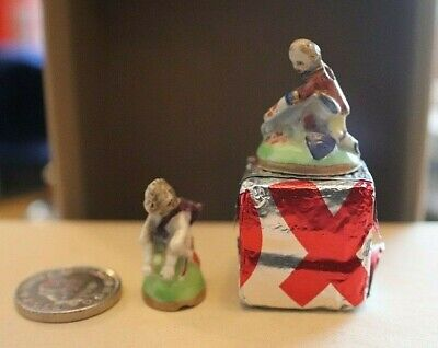 Two Antique Tiny Miniature Porcelain Figures Maybe Dolls House Decor • 11.50£