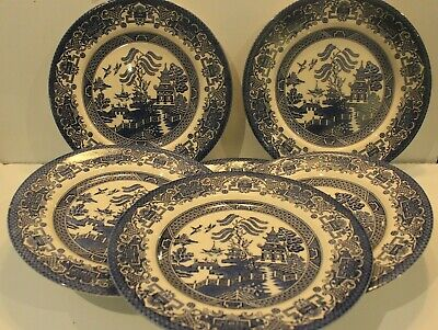 6 Vintage English Ironstone 'Old Willow' Pattern Blue And White Tea Plates • 10£