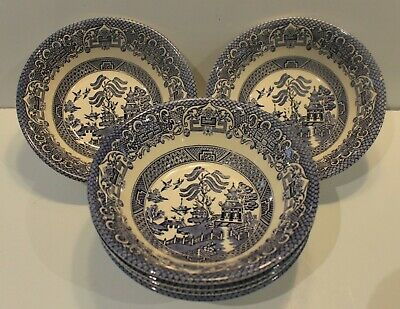 6 Vintage English Ironstone 'Old Willow' Pattern Blue And White Soup Bowls • 10£