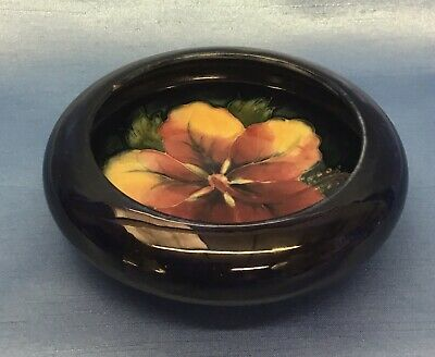 Moorcroft Antique Small Dish Bowl Pin Tray Blue Pink Green 12cm Hibiscus Flower • 30£