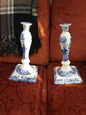 Pair Of Spode Italian Large 13 Inch Candlesticks Blue White • 40£